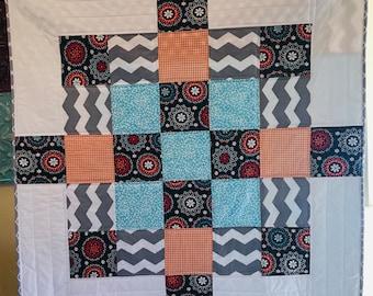 Baby quilt, modern baby quilt, patchwork baby blanket