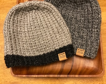 Hand knit gray hat, man's hat