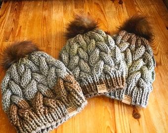 Hand knit hat, slouchy knit beanie, fur pom beanie