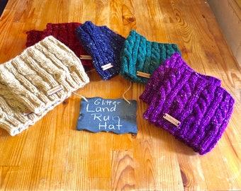 Knitted Ponytail hat, messy bun hat, runners hat, glitter ponytail hat, Land Run hat