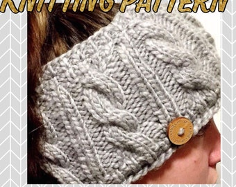Knitting Pattern, Cable Knit Ear Warmer Pattern, Fleece lined ear warmer, Route 66 Ear Warmer