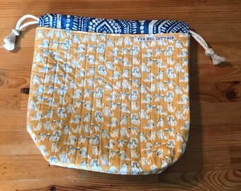 Drawstring project bag, dogs, knitting bags