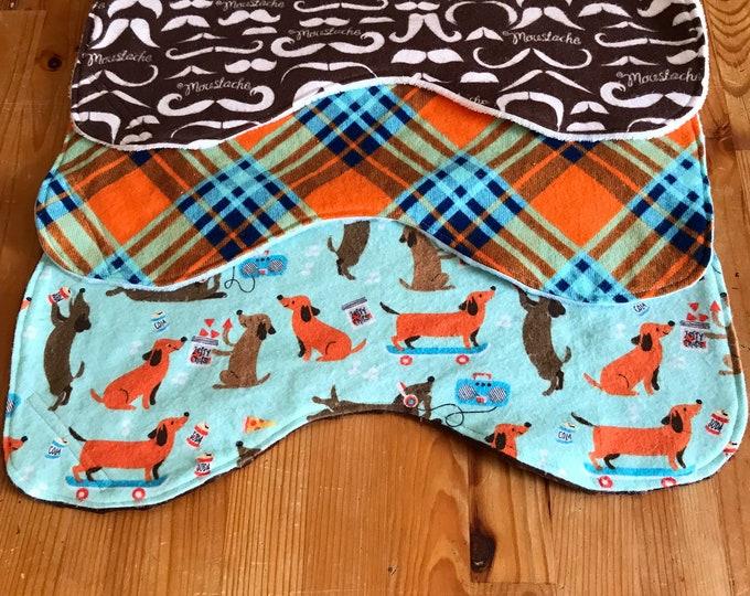 Featured listing image: Baby burp cloth set, dachshund, mustache, retro