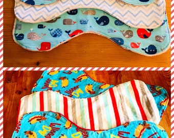 Baby burp cloths, whale burp cloths, dachshund burp cloths, nautical burp cloths, weenie dog burp cloths