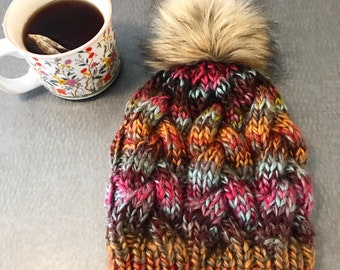Hand knit hat, cable knit hat, fur pom beanie