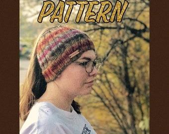 Knitting Pattern: Pony Tail Hat Pattern, Messy Bun Hat Pattern, Knitted hat pattern, bun hat pattern