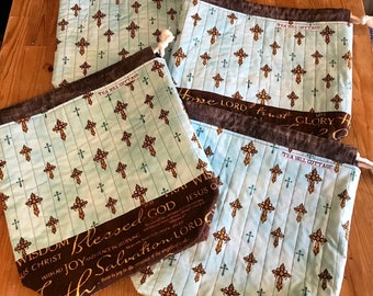 Drawstring project bag, knitting bag, Bible verse