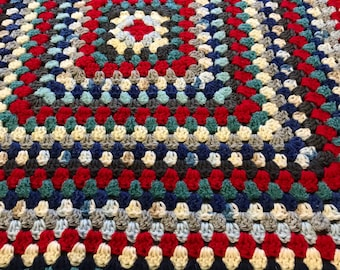 Crochet baby blanket, red, white, and blue