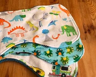 Baby burp cloth set, baby gift, camper burp cloth, frog burp cloth, dinosaur burp cloths