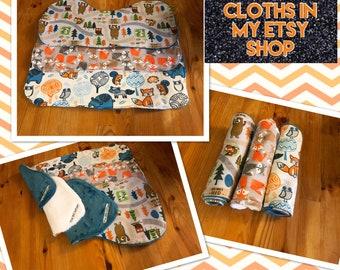 Baby burp cloth set, Woodland animals burp cloths, bear burp cloths, fox burp cloths, forest animals, baby shower gift