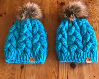 Hand knit hat, blue hat, fur pom beanie
