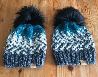 Hand knit hat, fur pom beanie
