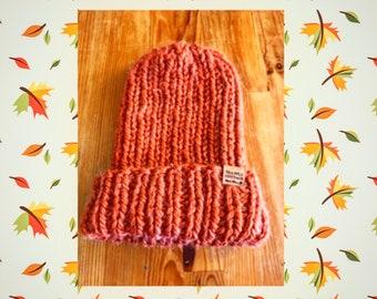 Orange knit hat, hand knit hat, unisex hat, ribbed beanie