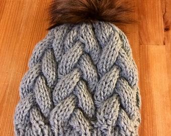 Hand knit hat, blue green fur pom beanie