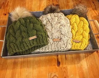 Hand knit hats , mustard knit hat, olive knit hat, tweed knit hat, fur pom beanies