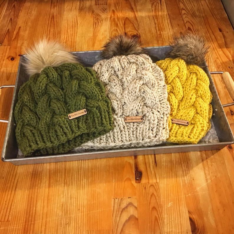 f3a358e6 Hand knit hats , mustard knit hat, olive knit hat, tweed knit hat, fur pom  beanies