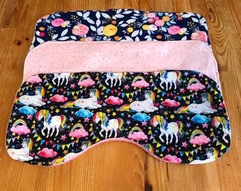 Baby burp cloth set, baby girl gift, unicorn, floral
