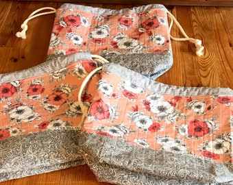 Floral drawstring bags, project bags, knitting bags