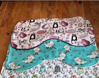 Baby burp cloth set, baby girl gift, cat burp cloths