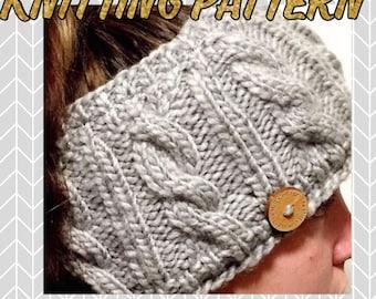 Knitting Pattern, Cable Knit Ear Warmer Pattern, Fleece lined ear warmer, Route 66 Ear Warmer