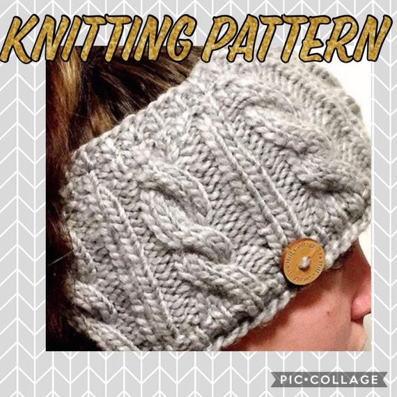 Knitting Pattern Cable Knit Ear Warmer Pattern Fleece Lined Ear
