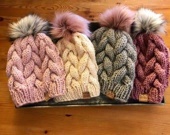 Hand knit hats, fur pom hat, gray knit hat, cream knit hat, pink knit hat