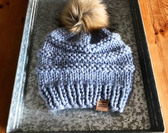 Blue hand knit hat, fur pom beanie, women's hat