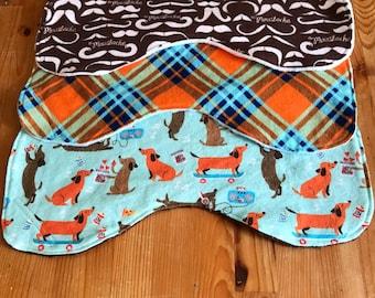 Baby burp cloth set, dachshund, mustache, retro