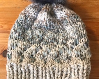 Neutral hand knit hat, woman's hand knit hat