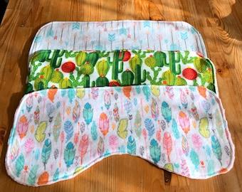 Baby burp cloth set, Southwest style burp cloths, cactus burp cloths