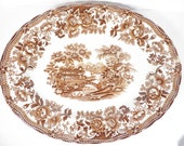 Royal Staffordshire Tonquin Brown Transferware Serving Platter - Brown Tonquin Platter
