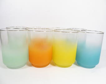 Mid Century Set of 8 Blendo Glass Tumblers - Beautiful Faded Mint Green, Orange, Yellow and Turquoise Glass Pitcher