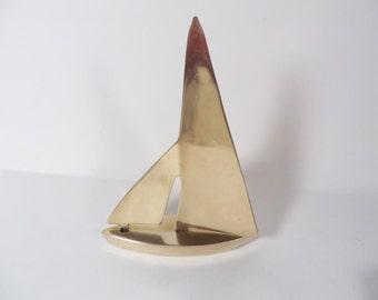 Vintage Brass Sailboat - Brass Nautical Boat Figure