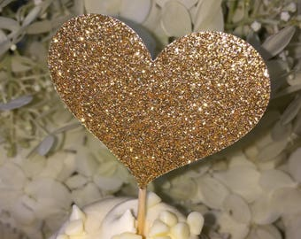 120 Cupcake Toppers 10 dozen Small & Large Gold Cupcake Toppers Sparkling GOLD HEART Cupcake Toppers Wedding Cake Decorations