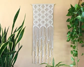 "Macrame Wall Hanging - Natural White Cotton Rope on 18"" Dowel - Art Deco Diamond Pattern - Boho Home, Nursery Decor - Ready To Ship"