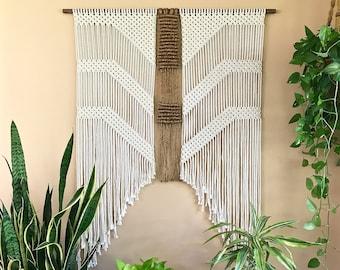 "Extra Large Macrame Wall Hanging - Natural White Cotton/Jute Rope 48"" Dowel - Boho Decor, Wedding Backdrop, Headboard - Ready To Ship"