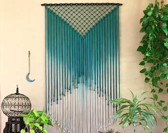 Extra Large Macrame Wall Hanging - Teal & White Ombre Rope w/ Welded Chain - Rustic Modern Boho Chic Gypsy Decor, Wedding Backdrop, Curtain