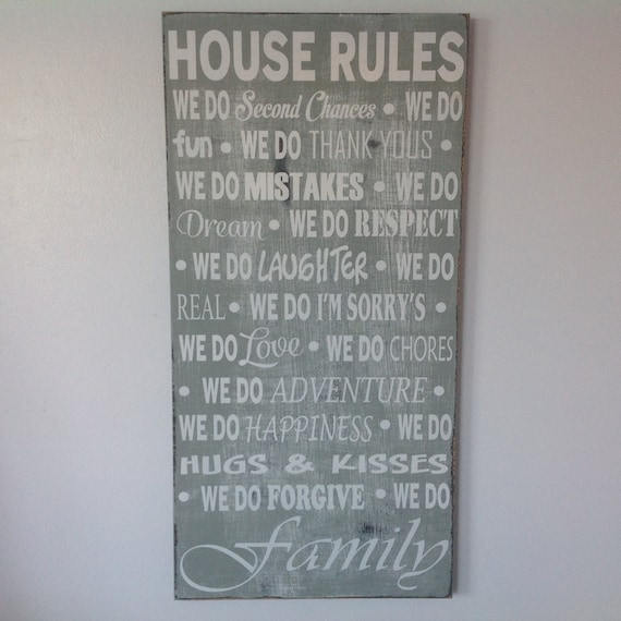 House Rules Yellow Kitchen: House Rules Custom Wood Sign Kitchen Decor Kitchen Wall