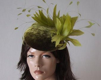 1ef6e20aa6e44 Olive Green Chartreuse Velvet Fascinator Cocktail Hat Headpiece