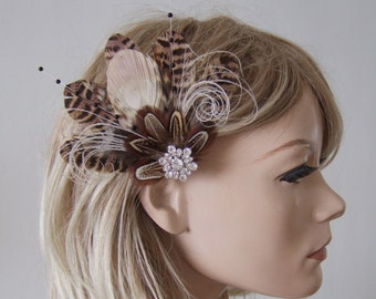 "Bridal Fascinator Peacock Pheasant Feathers Hair Clip Cream Brown Nudes ""Leanne"" FG2503 Wedding - 1 Day to Make - Bridesmaids Rustic Wedding"