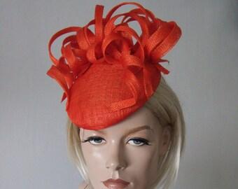 Tangerine Orange Beret Fascinator with Swirls Hat