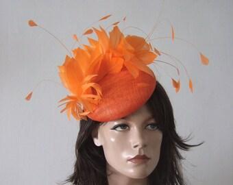 c750fd60369ef Orange Fascinator Hat Headpiece