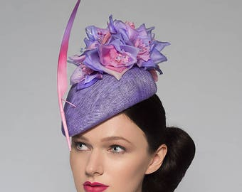 "Lilac Baby Candy Pink Beret Headpiece ""Soph"" Silk Flower + Feather Hat for Races Royal Ascot Hatinator Kentucky Derby Mother of the Bride"