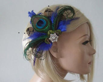 NEW GREEN PEACOCK BEADED Net Loop And Feather Facinator MOTHER OF BRIDE