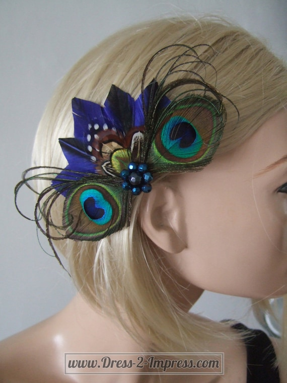 Peacock and Pheasant Feathers Fascinator Blue Green Brown  ce04102e702