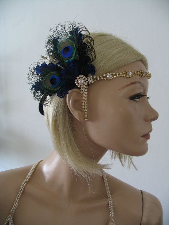 "Navy Blue & Peacock Feathers Flapper Gold Crystal Headband ""Roz"" Gatsby Art Deco Fascinator 1920's Party Headpiece Jazz Age Vintage Theme"