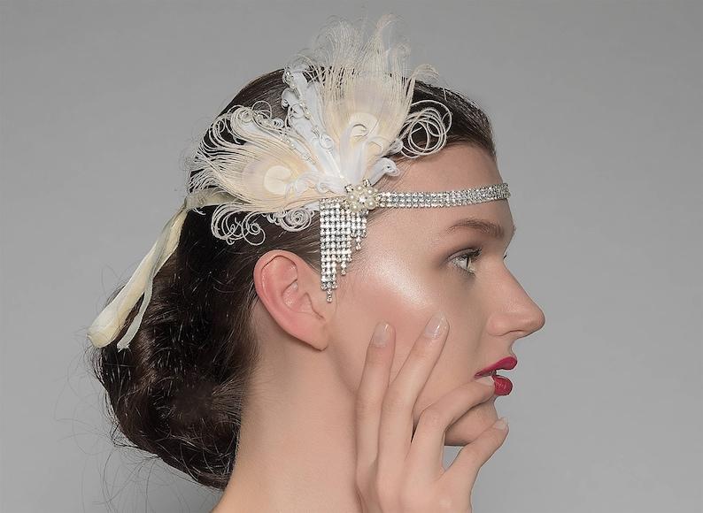 623d82b9a9e0c Peacock Feathers Flapper Crystal Headband Bea