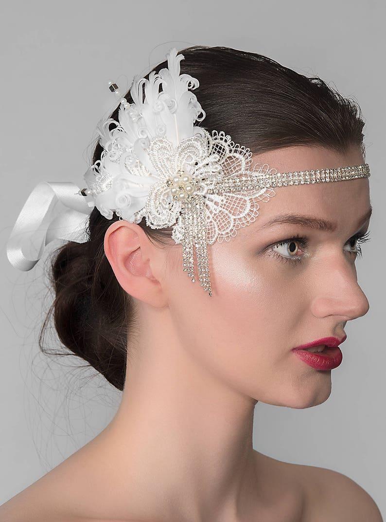 d9f675834567a Lace Feathers Flapper Crystal Headband Alia Gatsby