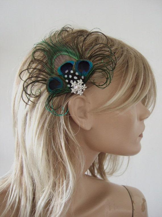 Peacock Feather Rhinestone brooch Fascinator Hair Clip Handmade in USA blue green brown