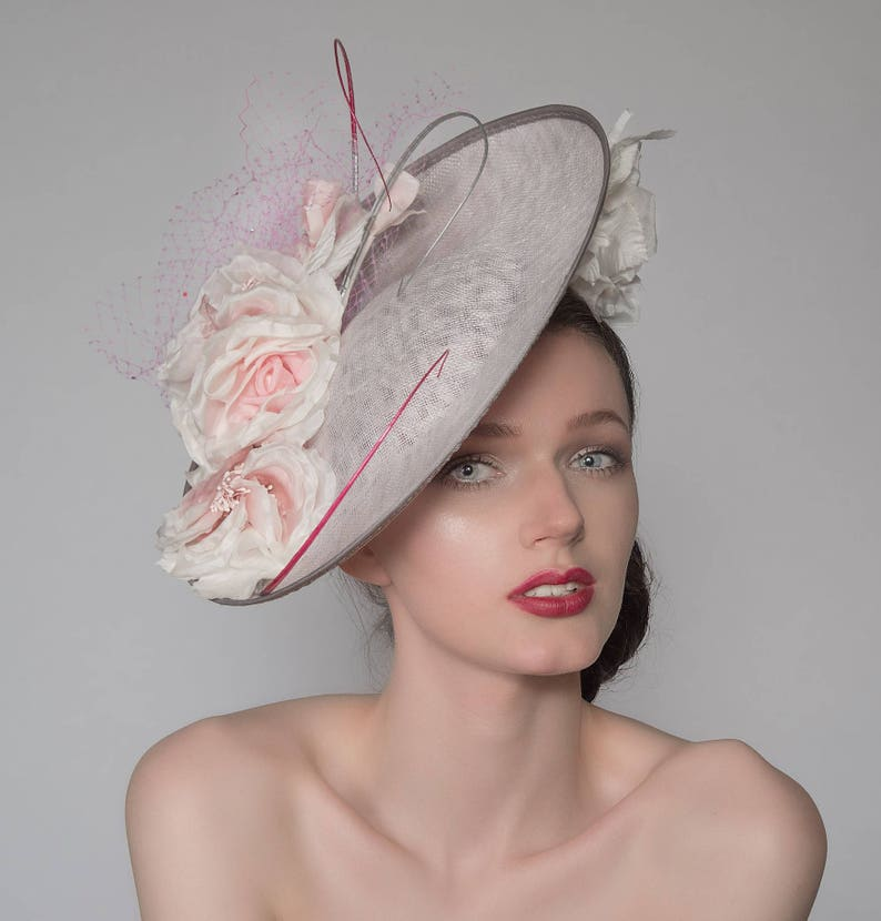 96637ef74cc56 Silver Baby Pink and Ivory Crystal Disc Royal Ascot Hat Headpiece  Fascinator FG0809 Mother of the Bride Wedding Ideas Epsom Racing Fashion